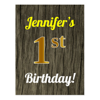 Faux Wood, Faux Gold 1st Birthday & Custom Name Postcard