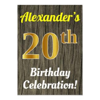 Faux Wood, Faux Gold 20th Birthday Celebration Card