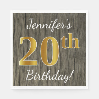 Faux Wood, Faux Gold 20th Birthday + Custom Name Disposable Napkins