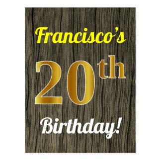 Faux Wood, Faux Gold 20th Birthday & Custom Name Postcard