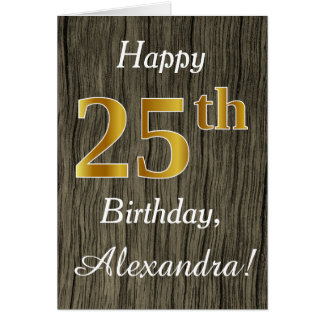 Faux Wood, Faux Gold 25th Birthday + Custom Name Card