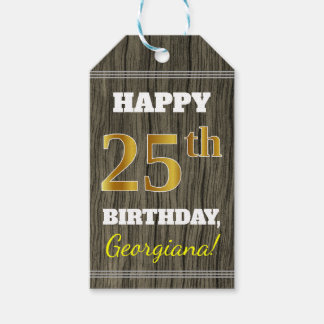 Faux Wood, Faux Gold 25th Birthday + Custom Name Gift Tags