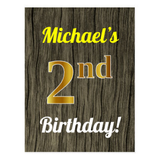 Faux Wood, Faux Gold 2nd Birthday & Custom Name Postcard