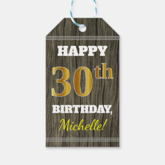 Faux Wood, Faux Gold 30th Birthday + Custom Name Gift Tags