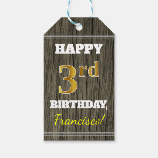 Faux Wood, Faux Gold 3rd Birthday + Custom Name Gift Tags