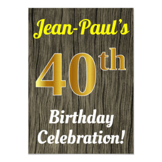 Faux Wood, Faux Gold 40th Birthday Celebration Card