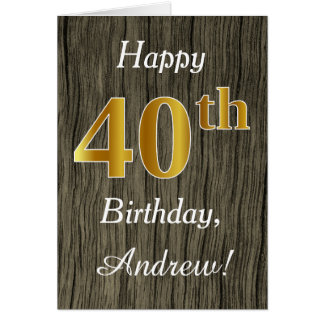 Faux Wood, Faux Gold 40th Birthday + Custom Name Card