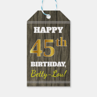 Faux Wood, Faux Gold 45th Birthday + Custom Name Gift Tags
