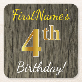 Faux Wood, Faux Gold 4th Birthday + Custom Name Square Paper Coaster