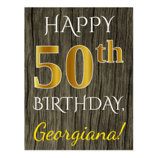 Faux Wood, Faux Gold 50th Birthday + Custom Name Postcard
