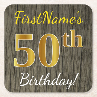 Faux Wood, Faux Gold 50th Birthday + Custom Name Square Paper Coaster