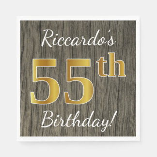 Faux Wood, Faux Gold 55th Birthday + Custom Name Disposable Serviettes