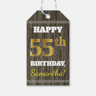 Faux Wood, Faux Gold 55th Birthday + Custom Name Gift Tags
