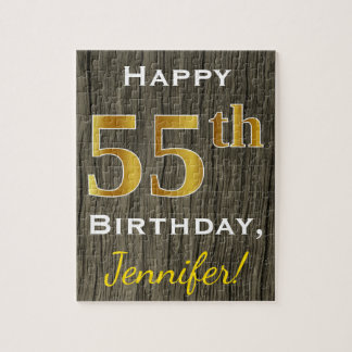 Faux Wood, Faux Gold 55th Birthday + Custom Name Jigsaw Puzzle