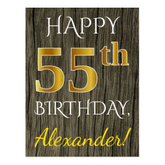 Faux Wood, Faux Gold 55th Birthday + Custom Name Postcard