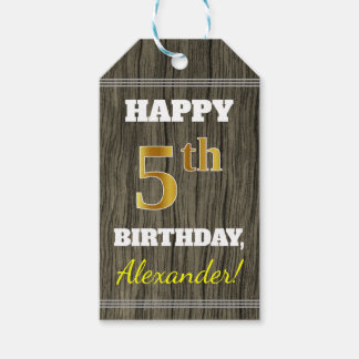 Faux Wood, Faux Gold 5th Birthday + Custom Name Gift Tags