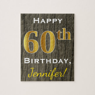 Faux Wood, Faux Gold 60th Birthday + Custom Name Puzzles