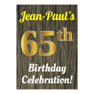 Faux Wood, Faux Gold 65th Birthday Celebration Card