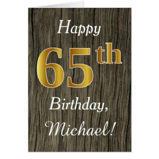 Faux Wood, Faux Gold 65th Birthday + Custom Name Card