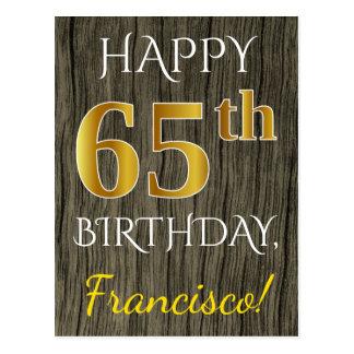 Faux Wood, Faux Gold 65th Birthday + Custom Name Postcard