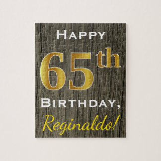 Faux Wood, Faux Gold 65th Birthday + Custom Name Puzzle