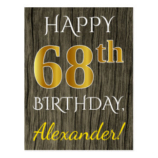 Faux Wood, Faux Gold 68th Birthday + Custom Name Postcard