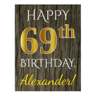 Faux Wood, Faux Gold 69th Birthday + Custom Name Postcard