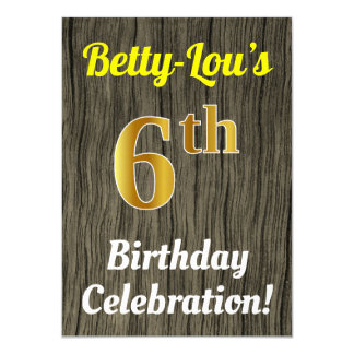 Faux Wood, Faux Gold 6th Birthday Celebration Card
