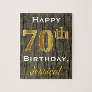 Faux Wood, Faux Gold 70th Birthday + Custom Name Puzzles