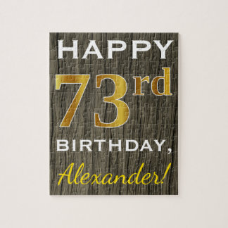 Faux Wood, Faux Gold 73rd Birthday + Custom Name Jigsaw Puzzle