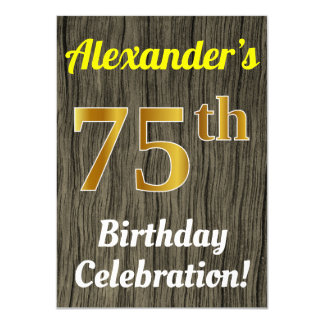Faux Wood, Faux Gold 75th Birthday Celebration Card
