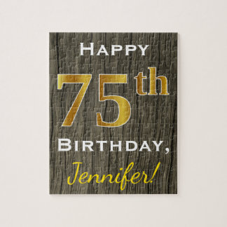 Faux Wood, Faux Gold 75th Birthday + Custom Name Puzzle