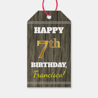 Faux Wood, Faux Gold 7th Birthday + Custom Name Gift Tags