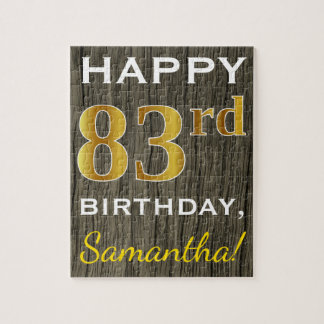 Faux Wood, Faux Gold 83rd Birthday + Custom Name Jigsaw Puzzle