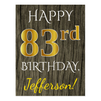 Faux Wood, Faux Gold 83rd Birthday + Custom Name Postcard