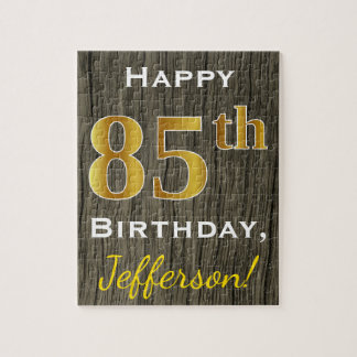 Faux Wood, Faux Gold 85th Birthday + Custom Name Jigsaw Puzzle