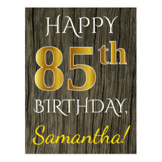 Faux Wood, Faux Gold 85th Birthday + Custom Name Postcard