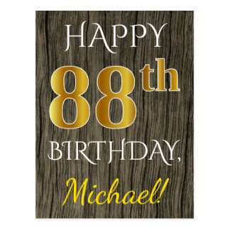 Faux Wood, Faux Gold 88th Birthday + Custom Name Postcard