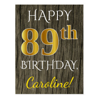 Faux Wood, Faux Gold 89th Birthday + Custom Name Postcard