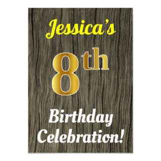 Faux Wood, Faux Gold 8th Birthday Celebration Card