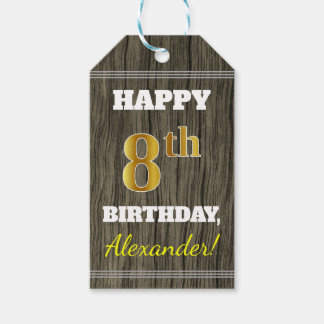 Faux Wood, Faux Gold 8th Birthday + Custom Name Gift Tags