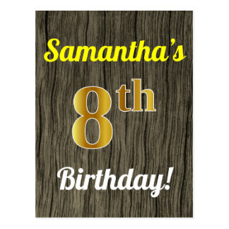 Faux Wood, Faux Gold 8th Birthday & Custom Name Postcard