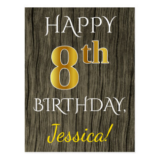 Faux Wood, Faux Gold 8th Birthday + Custom Name Postcard