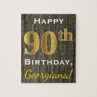Faux Wood, Faux Gold 90th Birthday + Custom Name Puzzle