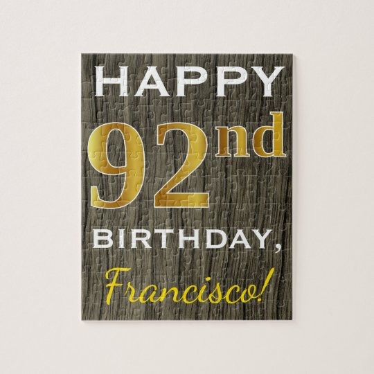Faux Wood, Faux Gold 92nd Birthday + Custom Name Jigsaw Puzzle