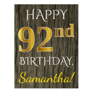 Faux Wood, Faux Gold 92nd Birthday + Custom Name Postcard