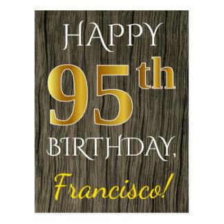 Faux Wood, Faux Gold 95th Birthday + Custom Name Postcard