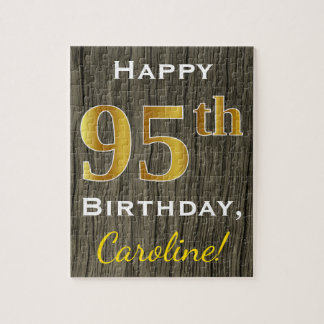 Faux Wood, Faux Gold 95th Birthday + Custom Name Puzzles