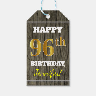 Faux Wood, Faux Gold 96th Birthday + Custom Name Gift Tags