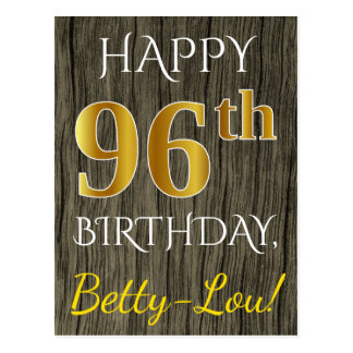 Faux Wood, Faux Gold 96th Birthday + Custom Name Postcard